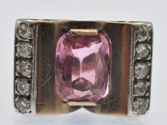 A Retro Rose Gold Tourmaline & Diamond Ring