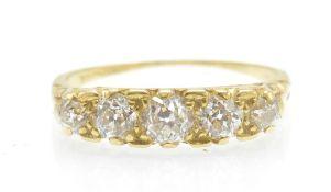 An Antique 18ct Gold & Diamond 5 Stone Ring