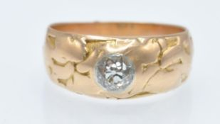 An Antique Rose Gold & Diamond Solitaire Dome Ring