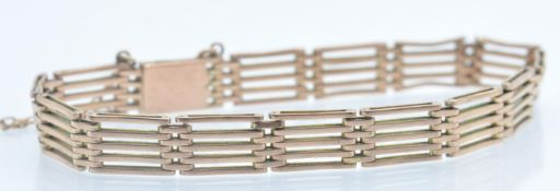 A 9ct Rose Gold Five Bar Gate Link Chain Bracelet