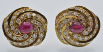 A Pair 18ct Gold of Ruby & Diamond Earrings
