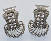 French 18ct Gold, Platinum & Diamond Earrings