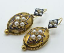 A pair of antique gold, pearl and enamel diamond d