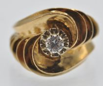 A French Art Deco 18ct Gold & Diamond Ring