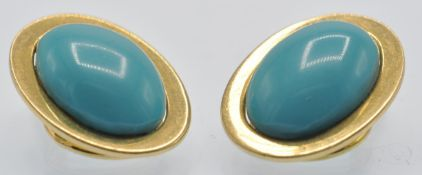 A Pair of 18ct Gold & Turquoise Earclips