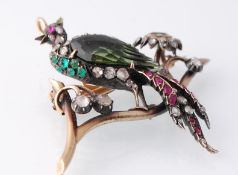 A 19th Century Victorian Bird of Paradise Figural Brooch