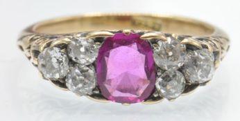 An 18ct Gold Burma Pink Sapphire & Diamond Ring