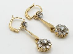 A Pair of Gold & Diamond Drop Earrings.