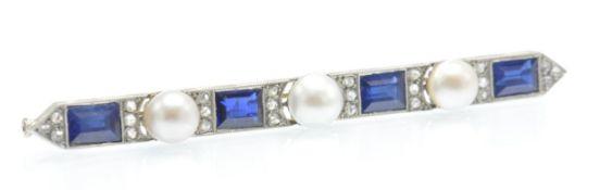 An Antique Gold Platinum, Sapphire Diamond & Pearl Brooch
