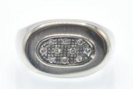 An 18ct White Gold Retro Diamond Cluster Ring
