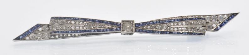 An Art Deco 18ct Gold Sapphire & Diamond Bow Brooch