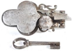 17TH CENTURY GERMAN ANTIQUE ENGRAVED STEEL LOCK AND KEY