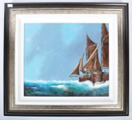 DAVID CHAMBERS - OIL ON BOARD PAINTING DEPICTING TRAWLERS AT SEA