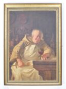 FRANK HYDE - 1849-1937 - LARGE OIL ON CANVAS PAINTING OF A MONK