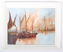 DAVID CHAMBERS - OIL ON BOARD PAINTING DEPICTING BARGES AT ST. PAUL'S