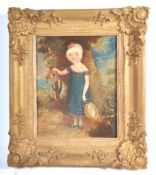 19TH CENTURY NAIVE OIL ON CANVAS PAINTING OF A YOUNG GIRL