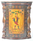 RARE 19TH CENTURY ANTIQUE PAINTED CORNER CABINET WITH JESTER
