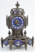 LEROY ET FILS FRENCH ANTIQUE MANTLE CLOCK WITH BLUE PANELS