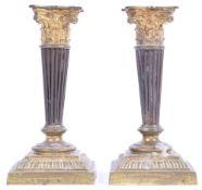 PAIR OF 19TH CENTURY GEORGIAN REGENCY PERIOD ORMOLU CANDLESTICKS