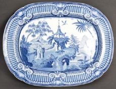 19TH CENTURY VICTORIAN ANTIQUE BLUE AND WHITE PLATTER
