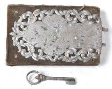 17TH CENTURY ANTIQUE BOX LOCK AND KEY HAVING A DECORATIVE STEEL COVER