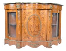 MARBLE AND MARQUETRY INLAID SERPENTINE FRONTED PIER CABINET