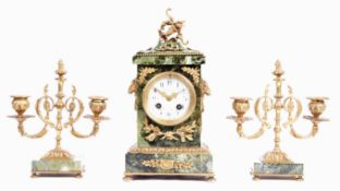 JAPY FRERES FRENCH GREEN MARBLE AND ORMOLU CLOCK