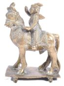 19TH CENTURY ANTIQUE HINDU BRONZE AIYANAR ON HORSE TOY