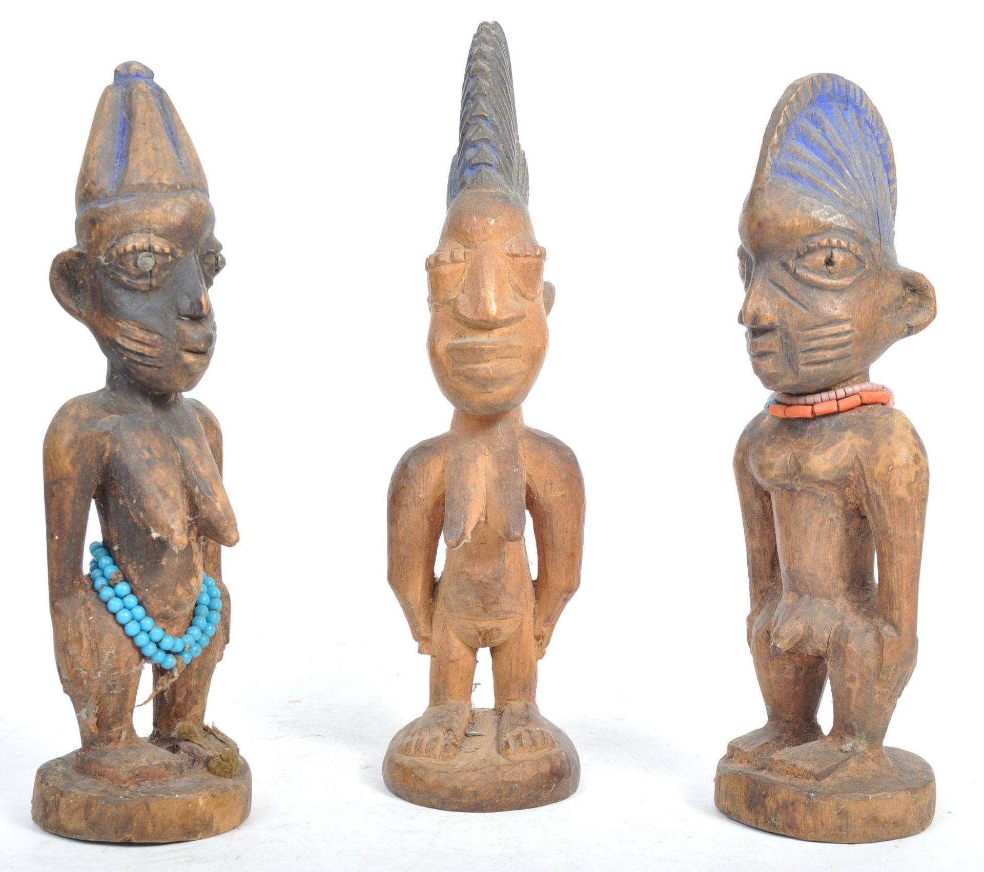 Los 537 - TRIBAL ANTIQUITIES - TRIO OF YORUBA IBEJI TRIBAL FIGURES