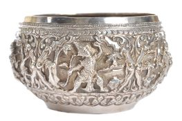 19TH CENTURY INDIAN SILVER TEMPLE PRAYER BOWL