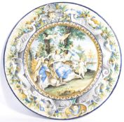 19TH CENTURY ITALIAN MAJOLICA LARGE CHARGER PLATE