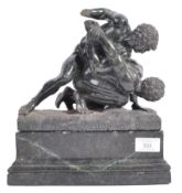 STUNNING 19TH CENTURY ANTIQUE THE WRESTLERS IN MARBLE