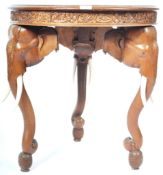 EARLY 20TH CENTURY ANGLO-INDIAN INLAID ELEPHANT OCCASIONAL TABLE