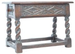 RETAILED BY LIBERTY OF LONDON 20TH CENTURY OAK SEWING STOOL