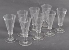 RARE SET OF EIGHT VICTORIAN GLASS DWARF ALE GLASSES WITH FACET CUT BOWLS