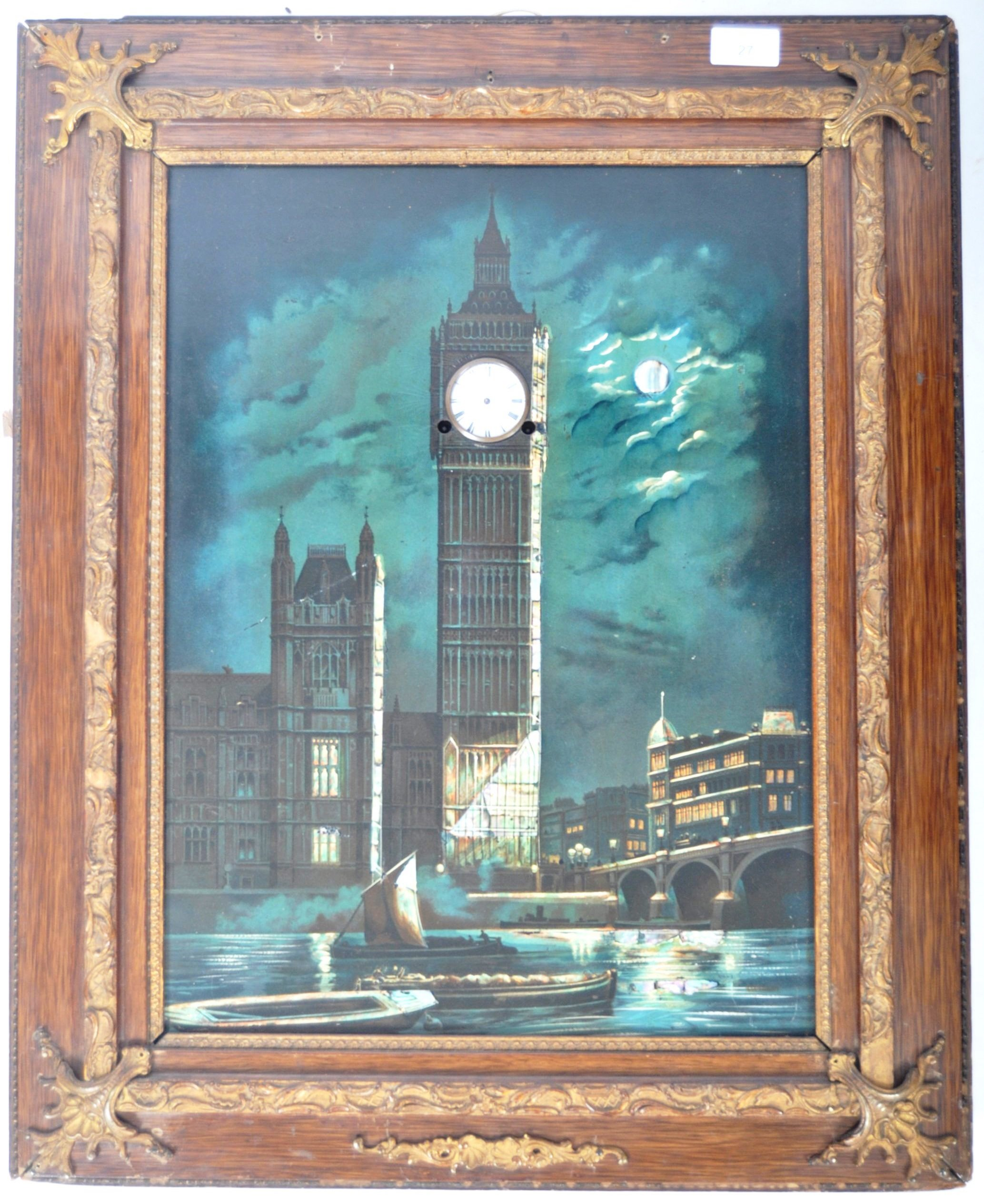 Lot 27 - AN UNUSUAL 20TH CENTURY LACQUERED PRINT PAINTING WALL CLOCK