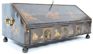 18TH CENTURY ENGLISH CHINOISERIE BLACK LACQUER TABLE BOX
