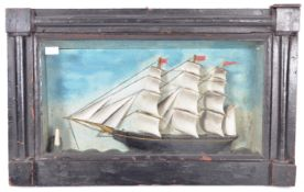 19TH CENTURY CARVED SHIP IN PERIOD DISPLAY CASE