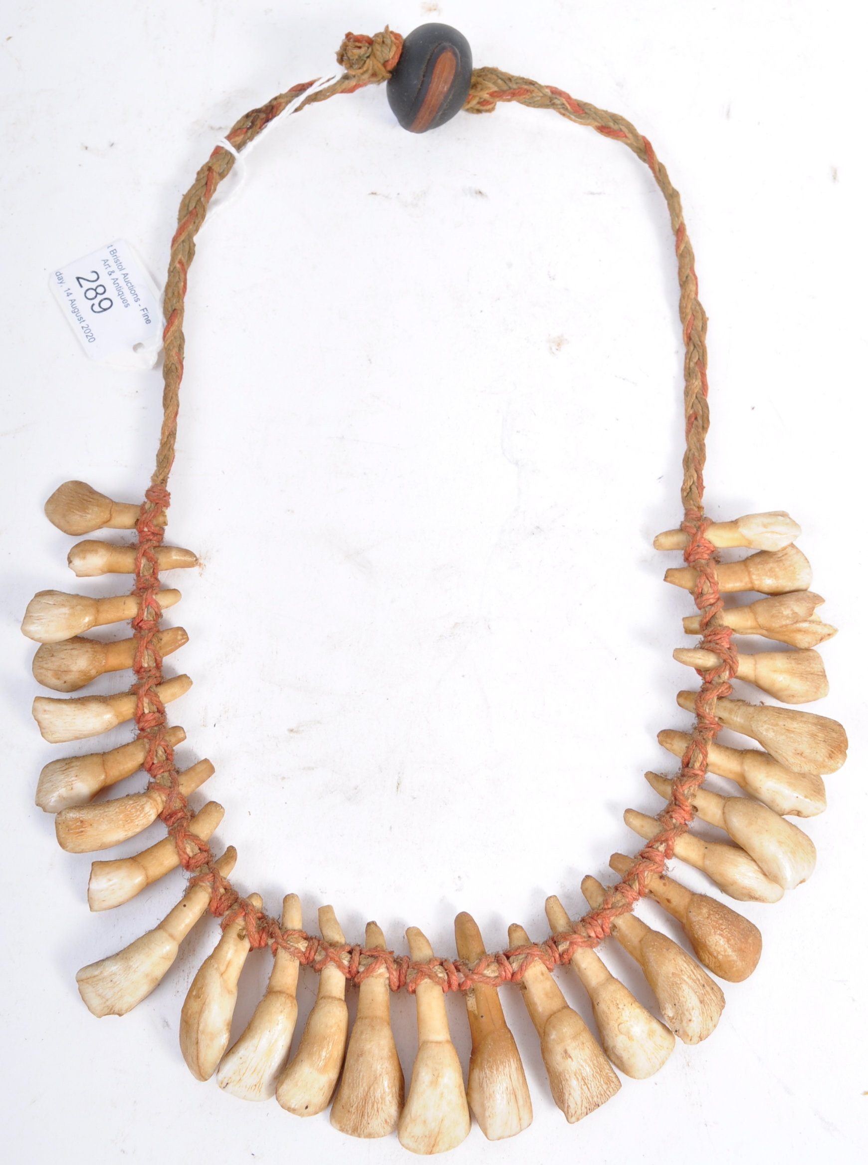 Lot 289 - TRIBAL ANTIQUITIES - 19TH CENTURY AFRICAN TOOTH NECKLACE