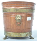 19TH CENTURY BRAS BOUND BARREL WINE BUCKET