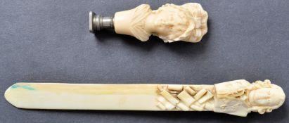 ANTIQUE 19TH CENTURY IVORY CARVED SEAL AND PAGE TURNER IN THE FORM OF HISTORICAL FIGURES