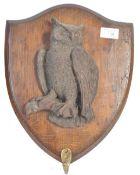 UNUSUAL 19TH CENTURY ENGLISH ANTIQUE HAND CARVED OWL PLAQUE