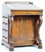 19TH CENTURY VICTORIAN ENGLISH ROSEWOOD AND MAPLE DAVENPORT