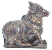 RARE 19TH CENTURY INDIAN HINDU BRONZE OF NANDIN THE SACRED BULL