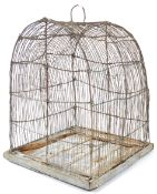 LARGE 18TH CENTURY WIRE AND PINE BIRD CAGE