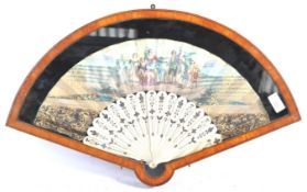 RARE 19TH CENTURY ANTIQUE WALNUT FAN CASE WITH PAINTED FAN