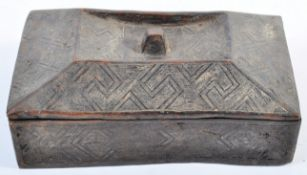 TRIBAL ANTIQUITIES - 19TH CENTURY AFRICAN KUBA TUKULA POWDER BOX