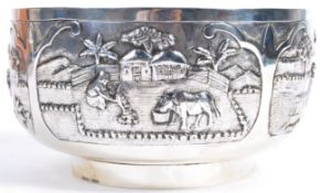 20TH CENTURY INDIAN STERLING SILVER LARGE PRAYER BOWL