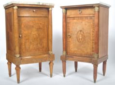 TWO 19TH CENTURY FRENCH BURR WALNUT MARBLE BEDSIDES