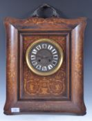EDWARDIAN ROSEWOOD AND INLAID BRONZED HANDLED WALL CLOCK